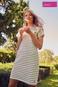 Joules Cream Riviera Printed Dress With Short Sleeves