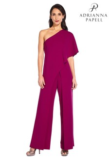 Adrianna Papell Wildberry Petite One Shoulder Jumpsuit