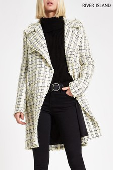 River Island Cream Boucle Long Line Coat