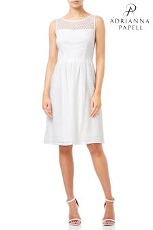 Adrianna Papell White Embroidery Diamonds Fit And Flare Dress