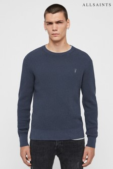AllSaints Grey Marl Textured Wells Jumper