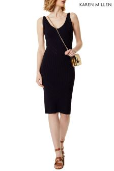 Karen Millen Blue Engineered Rib Knit Dress