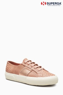 Baskets Superga® Cotu 2750 rose à imprimé peau de serpent