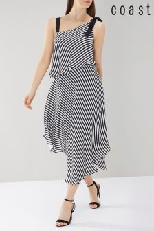 Coast Black Harper Stripe Soft Midi Dress