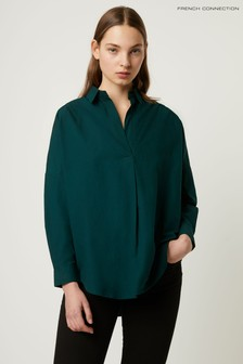 French Connection Green Rhodes Poplin Popover Shirt
