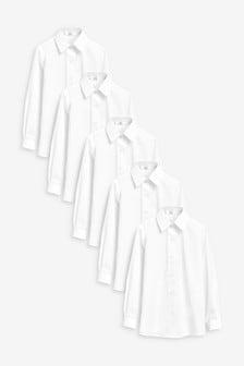 Набор из пяти строгих рубашек зауженного кроя с коротким рукавом (3-16 лет)