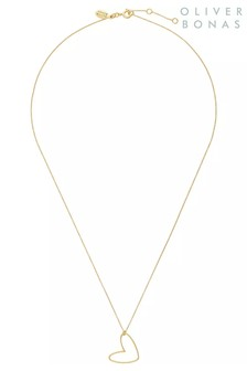 Oliver Bonas Heart Gold Plated Charm Necklace
