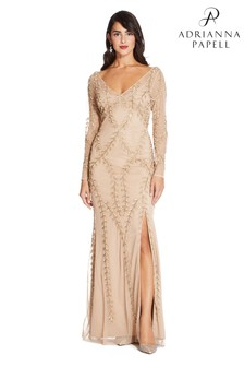 Adrianna Papell Nude Long Beaded Dress