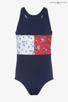 Tommy Hilfiger Girls Floral Flag Print Swimsuit