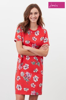 Joules Red Liberty Print A-Line Jersey Dress