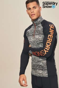 Superdry Snow Grey Carbon Base Layer Zip Top