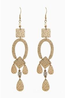 Large Hammered Metal Multi-Drop Earrings