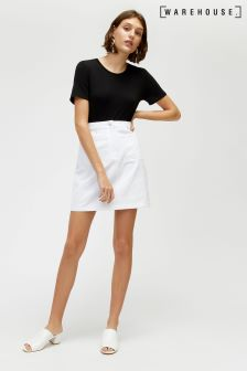 Warehouse White Patch Pocket Zip Front Skirt
