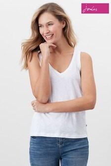 Joules White Maya V-Neck Jersey Vest