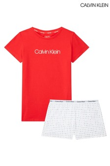 Calvin Klein Red Modern Cotton Knit PJ Short Set