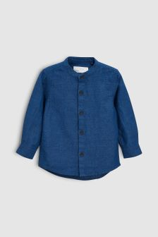 Long Sleeve Linen Blend Shirt (3mths-6yrs)