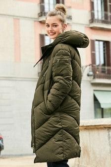 Manteau long matelassé