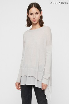 AllSaints Pale Grey Double Layer Libby Jumper