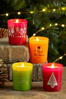 Set of 4 Festive Fragranced Candles