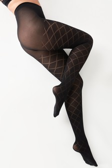 NEW WOMEN/'S LADIES BLACK PATTERNED TIGHTS 40 DENIER ONE SIZE S-M   R-5