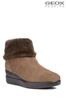 Geox Stardust Chestnut Fur Lined Suede Ankle Boots