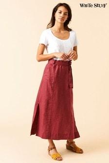White Stuff Red Ione Plain Linen Maxi Skirt