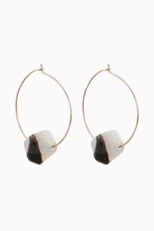 Semi Precious Bead Detail Hoop Earrings
