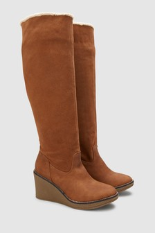 Crepe Wedge Slouch Knee High Boots
