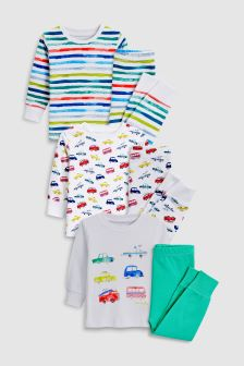 Car/Stripe Snuggle Fit Pyjamas Three Pack (9mths-8yrs)