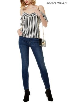 Karen Millen Blue Mid Wash Jean