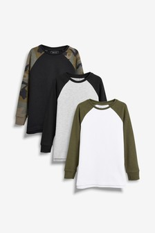 3 Pack Camo Long Sleeve Raglan T-Shirts (3-16yrs)