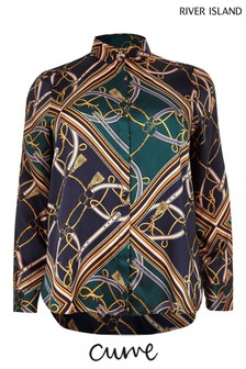 River Island Curve Blue Chain Print Shirt