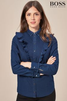 BOSS Frill Detail Blue Denim Shirt