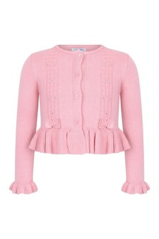 Girls Pink Cotton & Wool Cardigan
