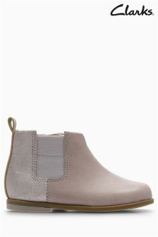 Clarks Pink Combi Leather Drew Fun Gusset Ankle Boot