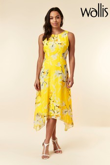 Wallis Yellow Orchid Hanky Hem Dress