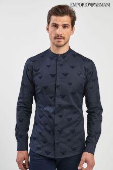 Emporio Armani Navy Flocked Grandad Shirt