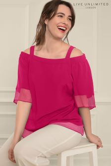 Live Unlimited Raspberry Bardot Top with Chiffon Hem