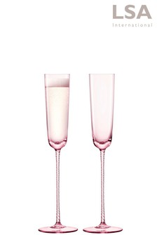 Set of 2 LSA International Champagne Theatre Blush Champagne Flutes