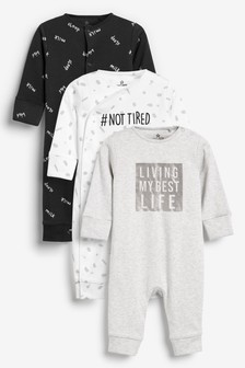 3 Pack GOTS Organic Cotton Slogan Footless Sleepsuits (0mths-2yrs)