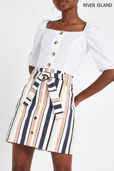 River Island Stripe Button Utility Mini Skirt