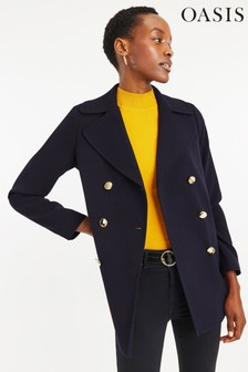 Oasis Blue Double Crepe Pea Coat