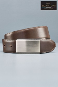 Signature Reversible Italian Leather Plaque Belt