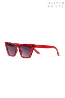 Oliver Bonas Red Pointed Cat Eye Sunglasses