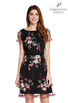 Adrianna Papell Black Floral Embroidery Flared Dress