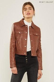 Mint Velvet Brown Leather Western Jacket