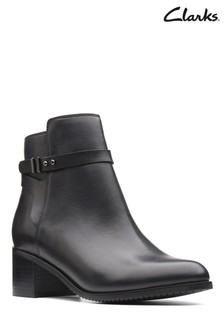 Clarks Black Leather Poise Freya Ankle Boot
