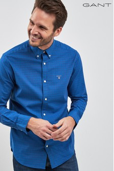 GANT Navy Herringbone Pattern Regular Shirt