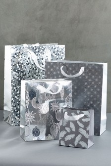 Set of 4 Silver Christmas Gift Bags
