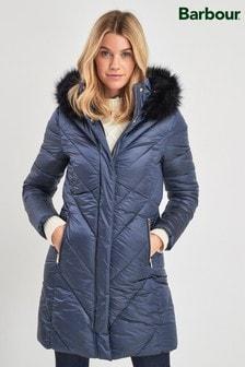 Barbour® Tartan Navy Luxe Reesdale Quilt Coat